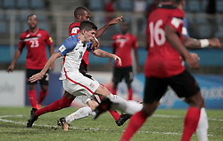 October 10, 2017 - Couva, Caroni County, Trinidad & Tobago - Couva, Trinidad & Tobago - Tuesday Oct. 10, 2017: Christian Pulisic scores a goal during a 2018 FIFA World Cup Qualifier between the men's national teams of the United States (USA) and Trinidad & Tobago (TRI) at Ato Boldon Stadium. (Credit Image: © John Dorton/ISIPhotos via ZUMA Wire)
