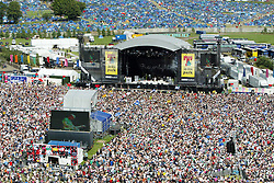 View from the ferris wheel looking towards Razorlight playing main stage and the camping area behind that, on Sunday 10th July 2005 at the T in the Park music festival, Balado in Fife, Scotland..Pic: © Michael Schofield.