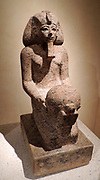 Kneeling figure of queen Hatshepsut with cultic vessel new Kingdom, dynasty 18 around 1475 BC Thebes West / Deir el-Bahari Rose granite.
