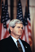 "U.S Speaker of the House, Newt Gingrich of Georgia attends a ceremony celebrating the first anniversary of the Republicans ""Contract with America"" on Capitol Hill September 27, 1995  in Washington, DC."