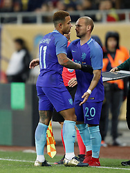 (L-R) Memphis Depay of Holland, Wesley Sneijder of Holland during the friendly match between Romania and The Netherlands on November 14, 2017 at Arena National in Bucharest, Romania
