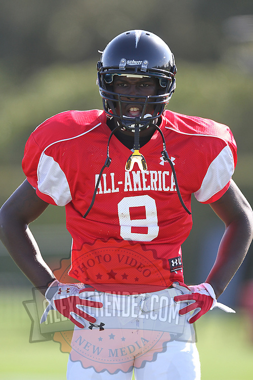 Lawrence Thomas during the practice session at the Walt Disney Wide World of Sports Complex in preparation for the Under Armour All-America high school football game on December 3, 2011 in Lake Buena Vista, Florida. (AP Photo/Alex Menendez)