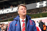 Louis van Gaal, the Manchester United Manager looks skywards. Barclays Premier league match, Tottenham Hotspur v Manchester Utd at White Hart Lane in London on Sunday 10th April 2016.<br /> pic by John Patrick Fletcher, Andrew Orchard sports photography.