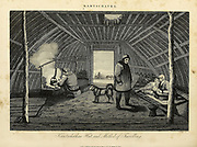 Kamchatka hut and method of travelling Copperplate engraving From the Encyclopaedia Londinensis or, Universal dictionary of arts, sciences, and literature; Volume XI;  Edited by Wilkes, John. Published in London in 1812