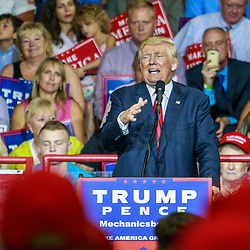 Mechanicsburg, PA – August 1, 2016: Republican presidential candidate Donald J Trump on the campaign trail in Pennsylvania speaking to a crowd of supporters at a political rally.