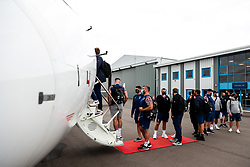 Jake Armstrong as Bristol Bears board the plane to Marseille ahead of their Challenge Cup Final in France - Rogan/JMP - 15/10/2020 - RUGBY UNION - Bristol Airport - Bristol, England - Toulon v Bristol Bears - European Rugby Challenge Cup Final.