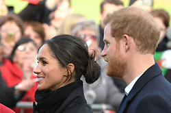Prince Harry and Meghan Markle meet the public as they visit Cardiff Castle in Wales on January 18, 2018
