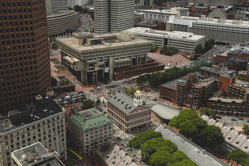 An aerial view of Boston's City Hall Plaza on a warm summer afternoon.