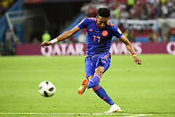 June 25, 2018 - Kazan, Russia - Johan Mojica of Colombia kicks the ball during the 2018 FIFA World Cup Group H match between Poland and Colombia at Kazan Arena in Kazan, Russia on June 24, 2018  (Credit Image: © Andrew Surma/NurPhoto via ZUMA Press)