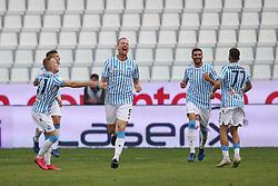 """Foto Filippo Rubin<br /> 03/10/2020 Ferrara (Italia)<br /> Sport Calcio<br /> Spal - Cosenza - Campionato di calcio Serie B 2020/2021 - Stadio """"Paolo Mazza""""<br /> Nella foto: ESULTANZA GOAL SPAL SALAMON BARTOSZ (SPAL)<br /> <br /> Photo Filippo Rubin<br /> October 03, 2020 Ferrara (Italy)<br /> Sport Soccer<br /> Spal vs Cosenza - Italian Football Championship League B 2020/2021 - """"Paolo Mazza"""" Stadium <br /> In the pic: CELEBRATION GOAL SPAL SALAMON BARTOSZ (SPAL)"""