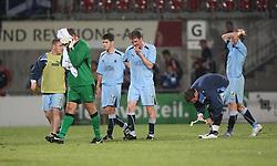 Robert Olejnik at teh end.<br /> Vaduz 2 v 0 Falkirk FC at the Rheinpark Stadium for their Europa League second-round qualifier against Vaduz in Liechtenstein.<br /> ©2009 Michael Schofield. All Rights Reserved.