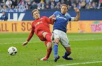 v.l. Emil Forsberg, Benedikt Hoewedes (Schalke)<br /> Gelsenkirchen, 23.04.2017, Fussball, Bundesliga, FC Schalke 04 - RB Leipzig<br /> <br /> Norway only