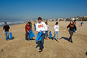 Heal the bay Clean up at Venice Beach, About 400 Students and Volunteers help with the Monthly Clean-up, California