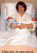 Medical, Hospital Maternity Room, Mother and Twin Babies