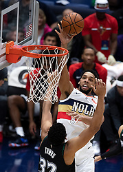 December 31, 2018 - New Orleans, LA, U.S. - NEW ORLEANS, LA - DECEMBER 31:  New Orleans Pelicans center Jahlil Okafor (8) drives to the basket against Minnesota Timberwolves center Karl-Anthony Towns (32) at New Orleans Arena in New Orleans, LA on Oct 23, 2018.  (Photo by Stephen Lew/Icon Sportswire) (Credit Image: © Stephen Lew/Icon SMI via ZUMA Press)