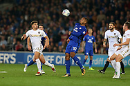 Kenneth Zohore of Cardiff city © in action.EFL Skybet championship match, Cardiff city v Leeds Utd at the Cardiff city stadium in Cardiff, South Wales on Tuesday 26th September 2017.<br /> pic by Andrew Orchard, Andrew Orchard sports photography.