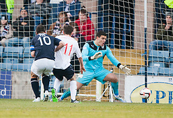Falkirk's Conor McGrandles disallowed goal. Dundee 1 v 1 Falkirk, Scottish Championship game at Dundee's home ground Dens Park.