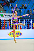 Shafizada Gulsum during qualifying at clubs in Pesaro World Cup at Adriatic Arena on April 11, 2015. Gulsum was born in Baku on November 08, 1998. She is a rhythmic gymnast member of the Azerbaijan National Team.