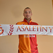 New Signing Wesley Sneijder of Galatasaray signing contract in Istanbul Turkey on Tuesday 22 January 2013. Photo by TURKPIX