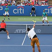 NICK KYRGIOS and STEFANOS TSISPAS play doubles against JUAN SEBASTION CABAL and ROBERT FARAH at the Rock Creek Tennis Center.