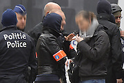 Nov. 16, 2015 - Brussels, BELGIUM - <br /> BRUSSELS, BELGIUM:<br /> <br /> Search for Paris Terror Suspect in Brussels<br /> <br /> Police pictured on the scene during searchings at a house in the Delaunoystraat - Rue Delaunoy in Sint-Jans-Molenbeek / Molenbeek-Saint-Jean, Brussels on Monday 16 November 2015. During the weekend searches were carried out and multiple people were arrested in relation to Friday's terrorist attacks in Paris. Several terrorist attacks in Paris, France, have left at least 129 dead and 350 injured. Most people were killed during a concert in venue Bataclan, the other targets were a restaurant and a soccer game. The attacks have been claimed by Islamic State..<br /> ©Exclusivepix Media