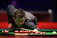 Ryan Day of Wales during his 1st round match against Kurt Dunham of Australia.  ManBetx Welsh Open Snooker 2018, day 1 at the Motorpoint Arena in Cardiff, South Wales on Monday 26th February 2018.<br /> pic by Andrew Orchard, Andrew Orchard sports photography.