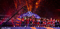 LIVERPOOL, ENGLAND - Wednesday, July 22, 2020: Liverpool's Naby Keita lifts the Premier League trophy during the presentation as the Reds are crowned Champions after the FA Premier League match between Liverpool FC and Chelsea FC at Anfield. The game was played behind closed doors due to the UK government's social distancing laws during the Coronavirus COVID-19 Pandemic. (Pic by David Rawcliffe/Propaganda)
