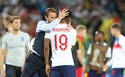 KALININGRAD, June 28, 2018  England's head coach Gareth Southgate (L front) hugs Marcus Rashford (R front) after the 2018 FIFA World Cup Group G match between England and Belgium in Kaliningrad, Russia, June 28, 2018. Belgium won 1-0. England and Belgium advanced to the round of 16. (Credit Image: © Cao Can/Xinhua via ZUMA Wire)