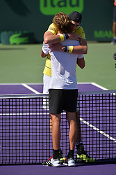 April 1, 2018 - Key Biscayne, Florida, United States Of America - KEY BISCAYNE, FL - APRIL 01: John Isner (USA) defeats Alexander Zverev (GER) 67(4) 64 64 in the Mens Final at the Miami Open held at the Crandon Park Tennis Center on April 1, 2018 in Key Biscayne, Florida...People:  John Isner, Alexander Zverev. (Credit Image: © SMG via ZUMA Wire)