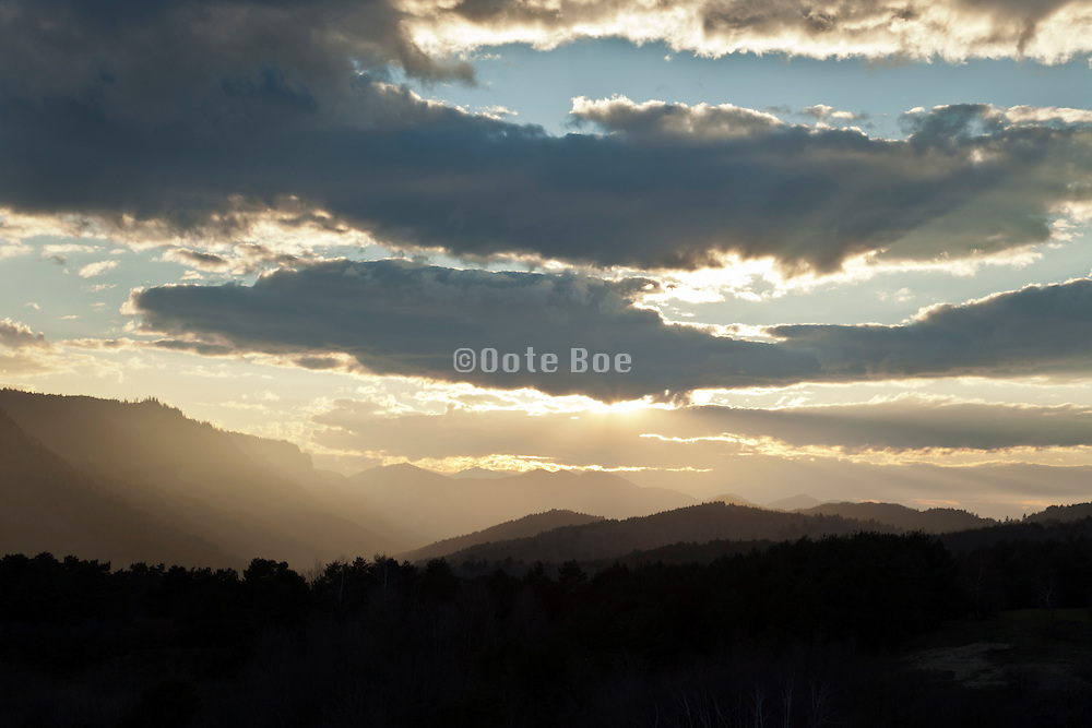 dramatic mountain range view in South France Languedoc near Bugarach