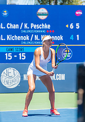 August 5, 2018 - San Jose, CA, U.S. - SAN JOSE, CA - AUGUST 05: Lyudmyla Kichenok (UKR) sets for a serve during the WTA Doubles Championship match at the Mubadala Silicon Valley Classic on the San Jose State University Stadium Court in San Jose, CA  on Sunday, August 5, 2018. (Photo by Douglas Stringer/Icon Sportswire) (Credit Image: © Douglas Stringer/Icon SMI via ZUMA Press)