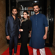 """Ahad Raza Mir,Hania Amir and Hamza Ali star of the movie attend Photocall in London Premiere of """"Parwaaz Hai Junoon"""" (Soaring Passion) as featured on SKY, ITV at The May Fair Hotel, Stratton Street, London, UK. 22 August 2018."""