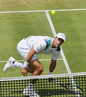 Tennis - 2017 Aegon Championships [Queen's Club Championship] - Day Five, Friday<br /> <br /> Men's Singles, Round of 8<br /> Sam Querrey [USA] vs. Gilles Muller [Lux]<br /> <br /> Gilles Muller chips the ball over the net to win the match on Centre Court <br /> <br /> COLORSPORT/ANDREW COWIE
