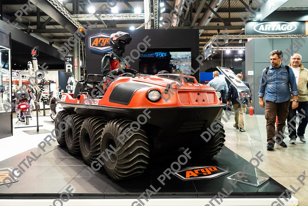 RHO Fieramilano, Milan Italy - November 07, 2019 EICMA Expo. Canadian Vehicle Argo XTV 8x8 extreme terrain vehicles in exhibit at EICMA 2019