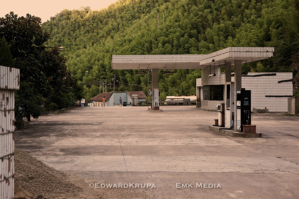 Closed, but guarded gas station in China.