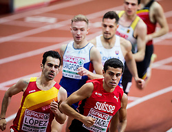 Kevin Lopez of Spain and Hugo Santacruz of Switzerland compete in the Men's 800 metres heats on day one of the 2017 European Athletics Indoor Championships at the Kombank Arena on March 3, 2017 in Belgrade, Serbia. Photo by Vid Ponikvar / Sportida