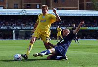 Photo: Olly Greenwood.<br />Southend United v Sheffield Wednesday. Coca Cola Championship. 09/09/2006. Southend United's Adam Barret tackles Sheffields Frank Simek