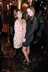 Left to right, PIXIE GELDOF and SARA BLOMQVIST at a party to celebrate the launch of Lulu & Co held at the Fifth Floor Cafe, Harvey Nichols, Knightsbridge, London on 21st October 2010.