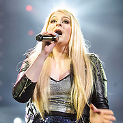 "WASHINGTON, DC - December 15th, 2014 - Meghan Trainor performs onstage during HOT 99.5's Jingle Ball 2014 at the Verizon Center in Washington, D.C. Her hit ""All About That Bass"" topped the Billboard Hot 100 singles chart for eight consecutive weeks. (Photo By Kyle Gustafson / For The Washington Post)"