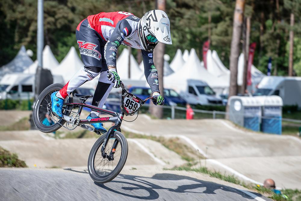 #959 (SCHOTMAN Mitchel) NED during practice at Round 5 of the 2018 UCI BMX Superscross World Cup in Zolder, Belgium