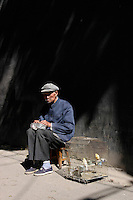 An old man taking the sun with his birds in a hutong in central Beijing. October 2005