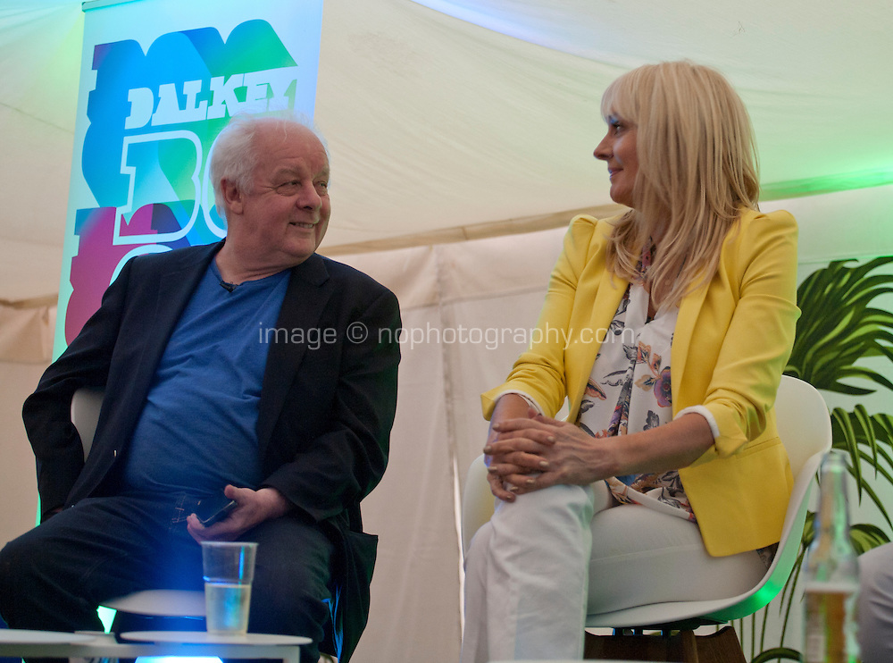 Director Jim Sheridan and broadcaster Miriam O'Callaghan at the Directors Talk Books event at the Dalkey Book Festival, Dalkey Village, Dublin, Ireland, Friday 12th June 2015
