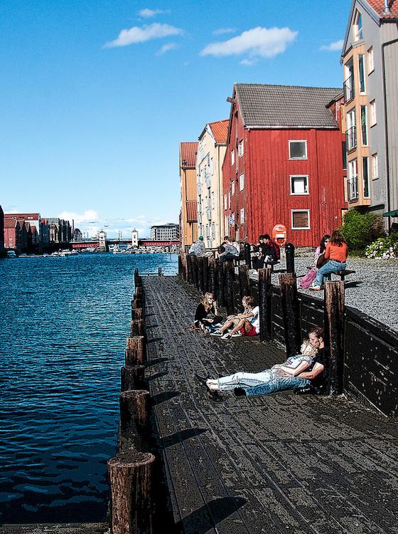 dock side sunbathing in Trondheim