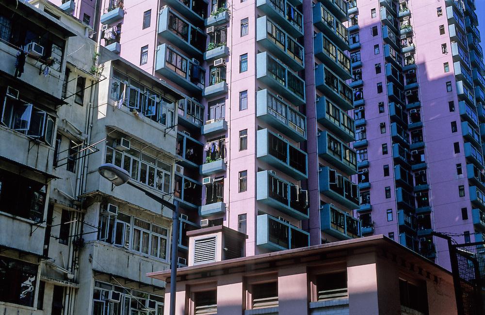 Hong Kong apartment blocks.