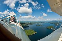 Taking flight in a WACO biplane with pilot Phil DiVirgilio of Lakes Biplane over Lake Winnipesaukee.