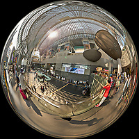 Kyoto Train Station Level Two -- Mirror Ball View. Composite of 43 images taken with a Leica CL camera and 18 mm f/2.8 lens (ISO 400, 18 mm, f/5.6, 1/60 sec). Raw images processed with Capture One Pro and AutoPano Giga Pro.