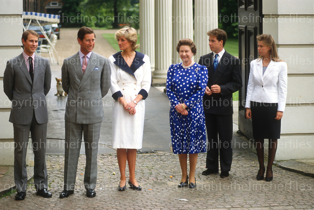 Her Majesty Queen Elizabeth seen with members of her family outside Clarence House,London,UK in August 1987.Family members are The Prince and Princess of Wales, Prince Edward, David Linley and Lady Sarah Armstrong Jones. Photograph by Jayne Fincher