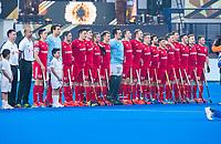 BHUBANESWAR, INDIA - line up England.  England v Australia (1-8) for the bronze medal during the Odisha World Cup Hockey for men  in the Kalinga Stadion.   COPYRIGHT KOEN SUYK