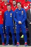 Spain's coach Julen Lopetegui (r) with Sub-21 coach Albert Celades during comercial event after training session. March 21,2017.(ALTERPHOTOS/Acero)