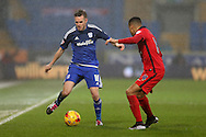 Craig Noone of Cardiff city (l) looks to go past Markus Olsson of Blackburn Rovers.  Skybet football league championship match, Cardiff city v Blackburn Rovers at the Cardiff city stadium in Cardiff, South Wales on Saturday 2nd Jan 2016.<br /> pic by Andrew Orchard, Andrew Orchard sports photography.